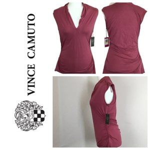 VINCE CAMUTO Side Ruched Sleeveless Top Size M